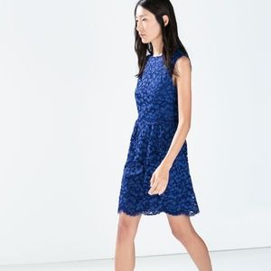 Zara Dresses - Zara Blue Lace Sheath Dress Sleeveless Mini
